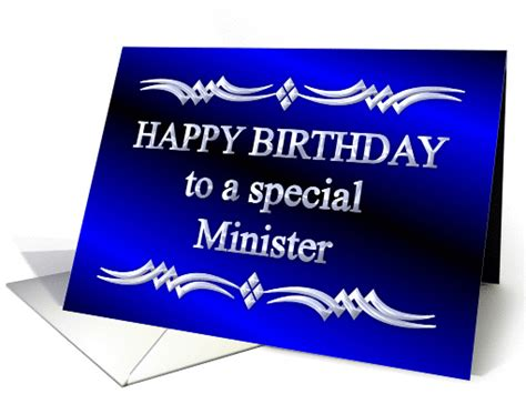 Happy Birthday Wishes For A Pastor Happy Birthday Minister Blue And Silver Card 1149266