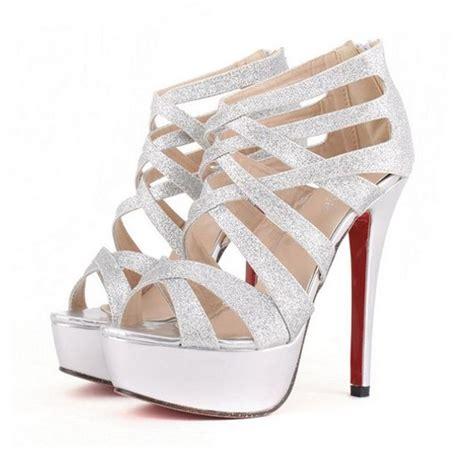 High Heels Krd14 Silver 33 metallic silver strappy high heel pumps on luulla