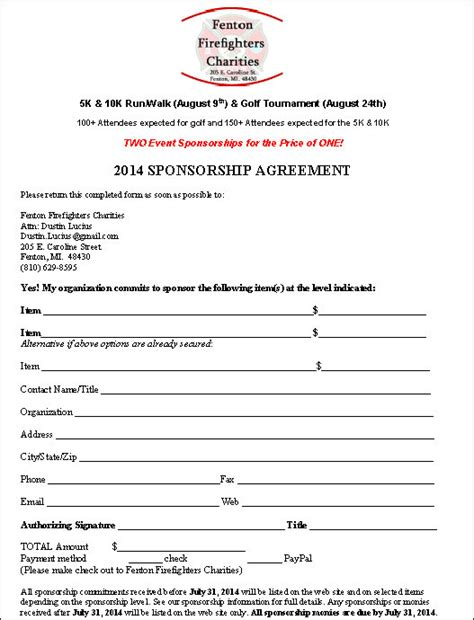 sponsor agreement template top 5 resuorces to get free sponsorship agreement