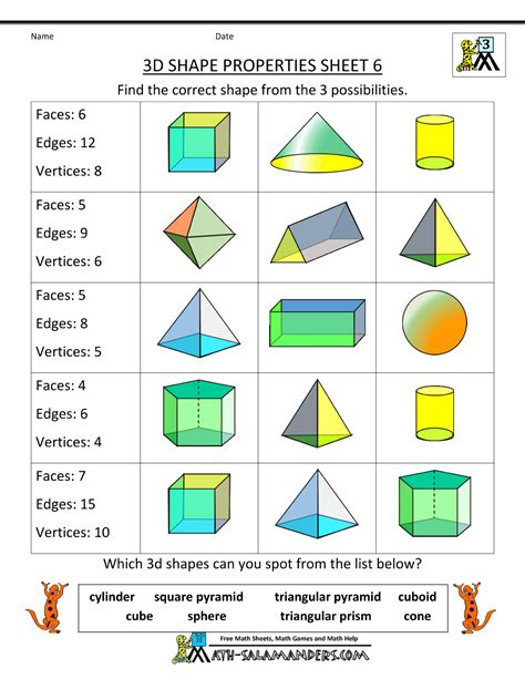 3d Shapes Worksheets by Free Printable Geometry Worksheets 3rd Grade
