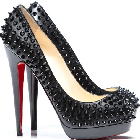 christian louboutin alti spike 160 black leather studded