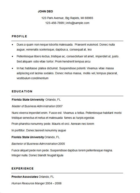 simple free resume template free sle resumes templates basic resume template 51
