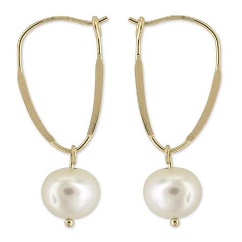 cultured freshwater pearl dangle earrings in 14k yellow