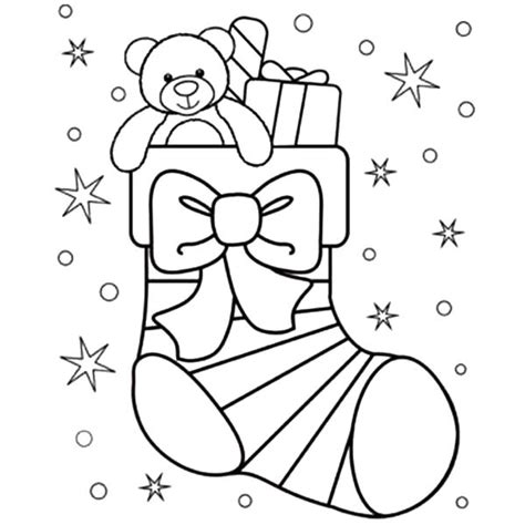 large christmas stocking coloring page christmas stockings coloring pages little teddy bear in