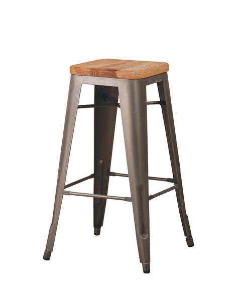 Metal Bar Stool With Wooden Seat | cali 957 backless metal bar stool with wooden seat cape