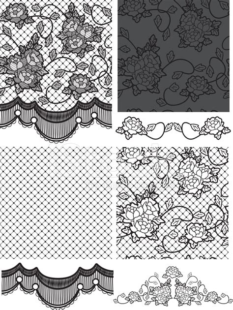 gothic style lace vector floral seamless stock photos