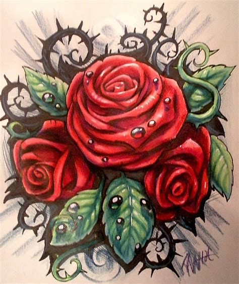 tattoo rose with thorns with thorns tattoos