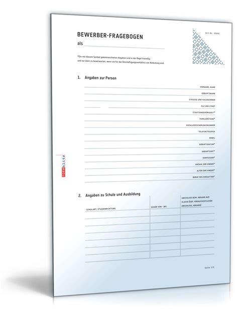 Musterbriefe Unternehmen Fragebogen Bewerber Vorlage Zum
