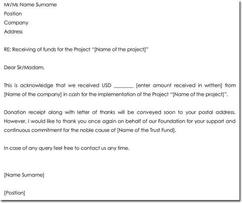 acknowledgement letter templates samples examples