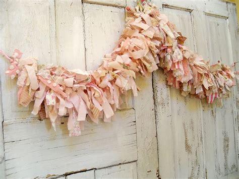 hand  shabby chic pink scrap fabric garland  full anita spero fabric garland shabby