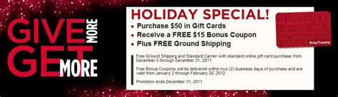 Ruby Tuesday Gift Card Special - ruby tuesday gift card bonus lamoureph blog