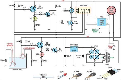 build automatic water tank filler circuit diagram