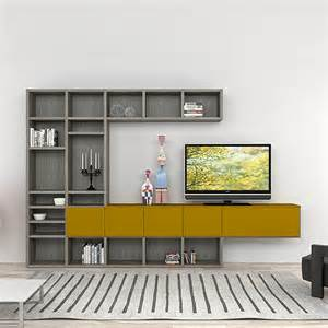 wall mounted tv unit designs modern italian tv stand in composition of grey and mustard