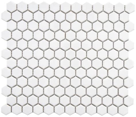 hexagon 1 quot white matte porcelain mosaic floor and wall tile - 1 White Matte Hexagon Floor Tiles