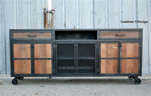 vintage industrial style media console credenza reclaimed