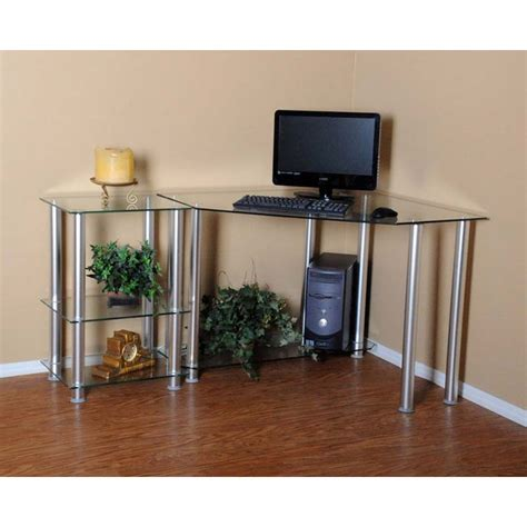 corner computer desk glass rta clear glass corner computer desk with 20 inch
