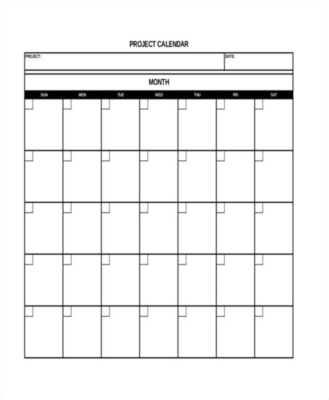 6 Project Calendar Templates Sle Exle Free Premium Templates Project Calendar Template