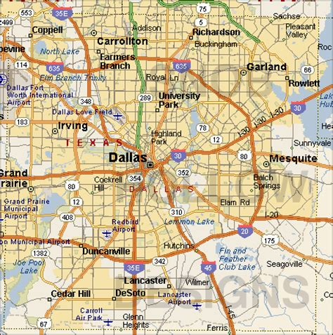 map dallas texas surrounding area dallas map free printable maps
