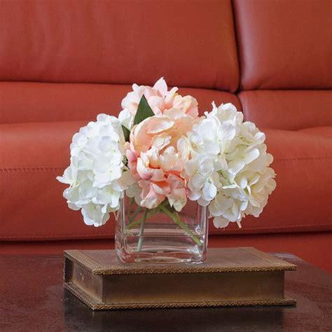 How To Arrange Peonies In A Vase by Hydrangea Peony Arrangement Silk Flowers Artificial