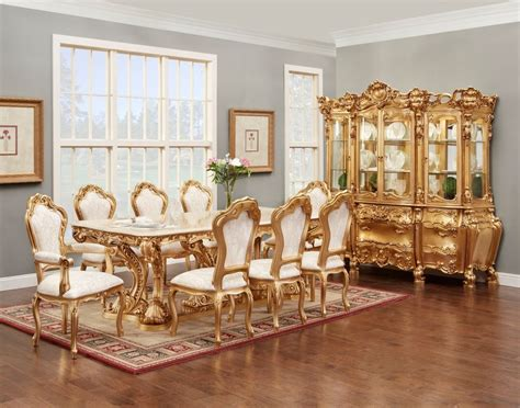 gold dining set gold finish dining set pedestal table ebay