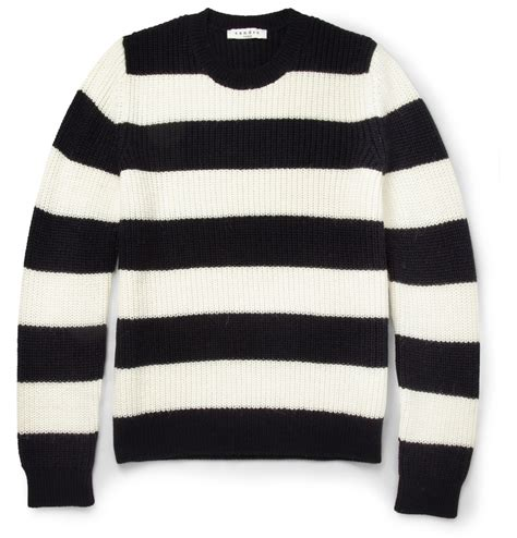 black and white knitted jumper sandro striped knitted crew neck sweater in black for