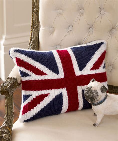 crochet pattern union jack union jack pillow knitting pattern red heart