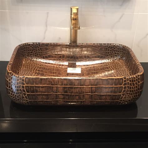 cut vessel sink handcut ceramic bathroom sink crocodile skin
