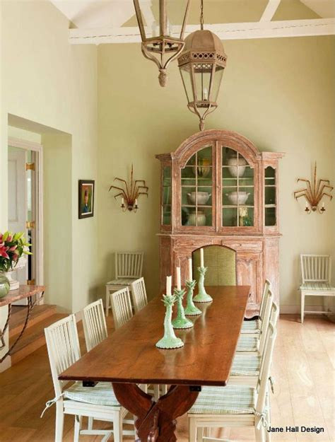 rustic style dining room in a country home in soft
