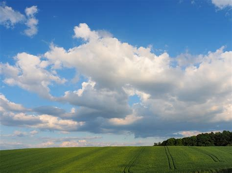 Landscape Photography Overexposed Sky Free Photo Blue Sky Clouds Field Landscape Free