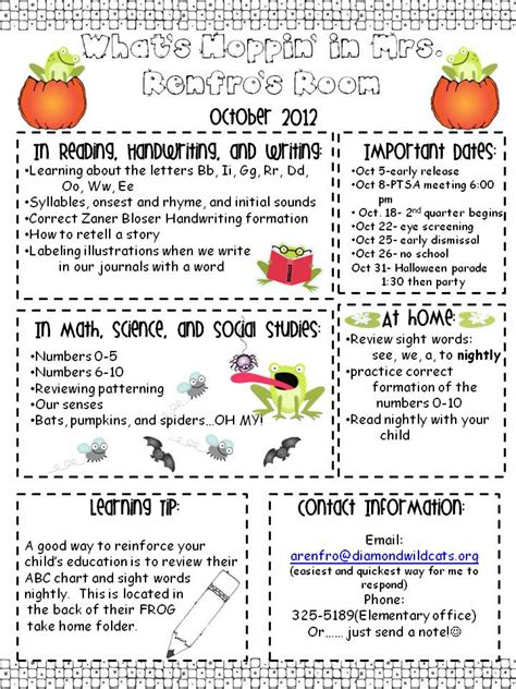 october newsletter template kindergarten times october newsletter
