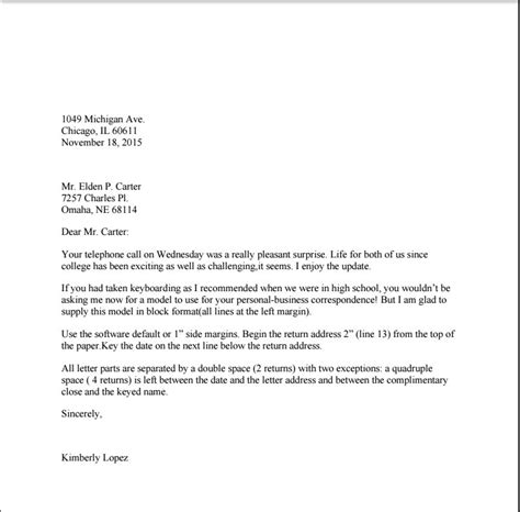 is a business letter double spaced the best letter sle