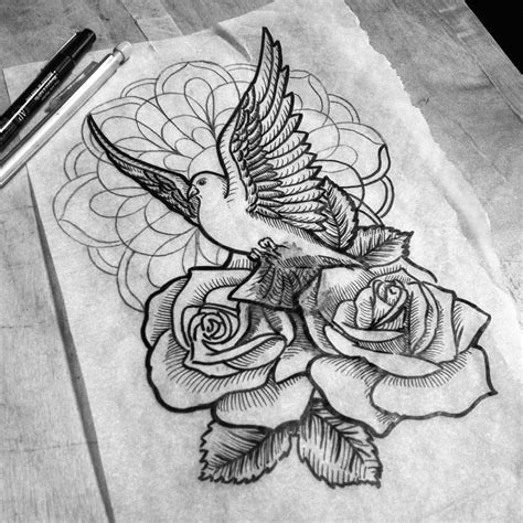 dove and rose tattoo designs black and white dove with buds and mandala flower