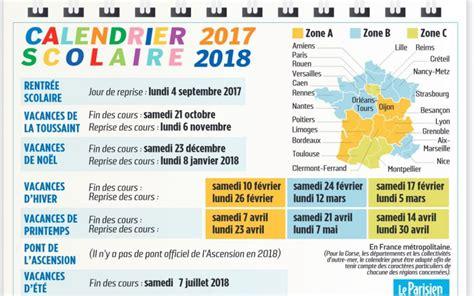 vacances scolaires 2017 2018 le calendrier 224 imprimer