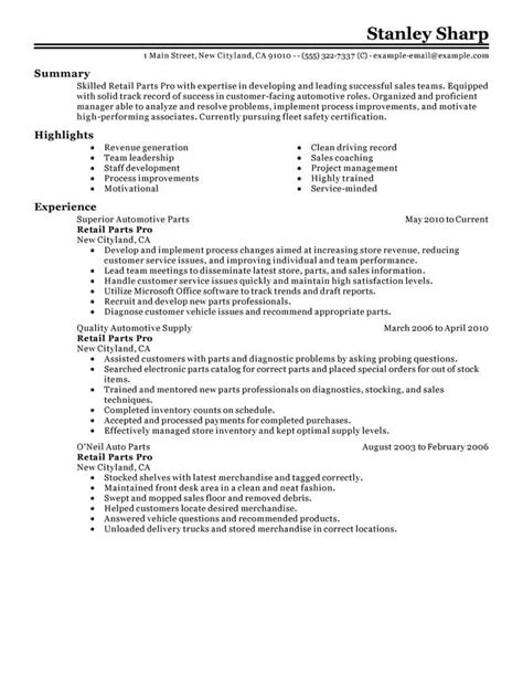Parts Of Resume by Best Retail Parts Pro Resume Exle Livecareer