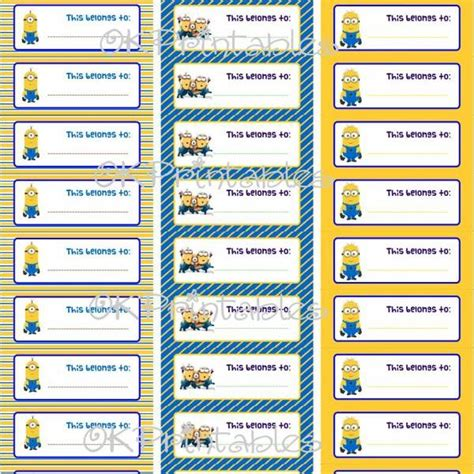 printable minion tags image gallery minion labels