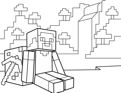 how to print in coloring book mode steve resting with pickaxe pdf printable coloring page