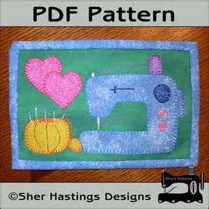 Pattern for sewing machine mug rug sewing machine mini quilt pattern