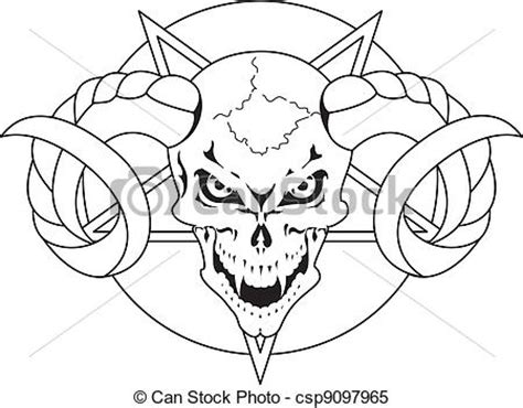 clipart vector of skull with horns and pentagram
