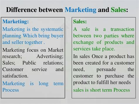 Mba Difference Between Marketing And Selling by Different Between Marketing And Sales
