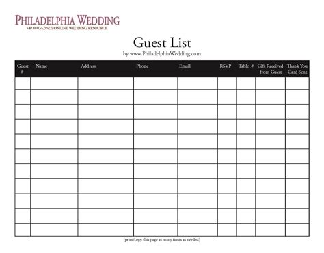 Wedding Planner Email List by Wedding Guest List Template Wedding