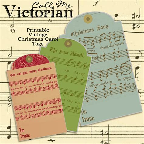 printable vintage christmas carol gift tags call me