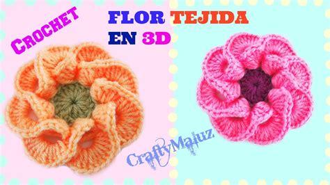como hacer flores de crochet tutorial flor tejida en 3d paso a paso crochet como
