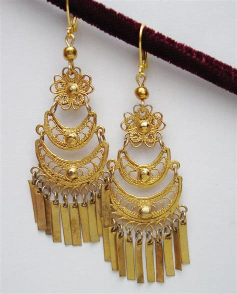 Mexican Chandelier Earrings Vintage Mexican Filigree Gold Tone Chandelier Dangle Earrings Statement Earrings Vintage And Gold