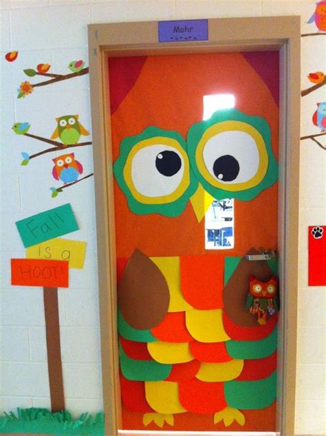 fall door decorations for school owl classroom decorations myclassroomideas classroom