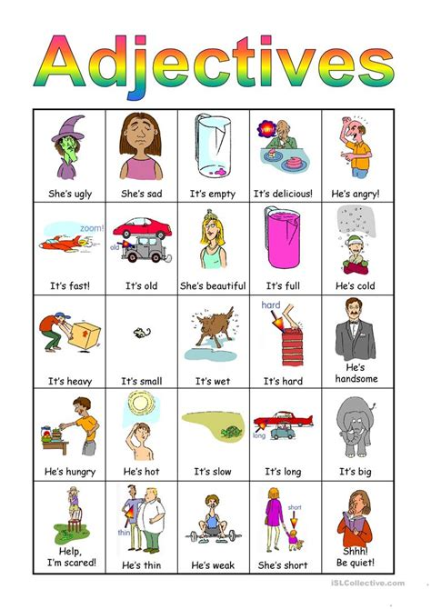free printable esl adjective order worksheet goodsnyc