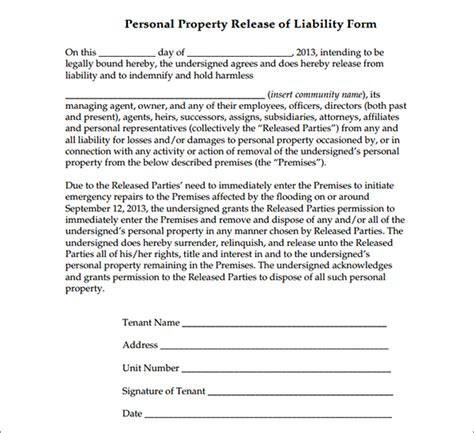personal property release form template personal property release form sle forms