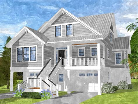 house blue prints gray bay cottage coastal home plans