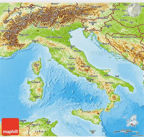 geographical map of italy physical 3d map of italy