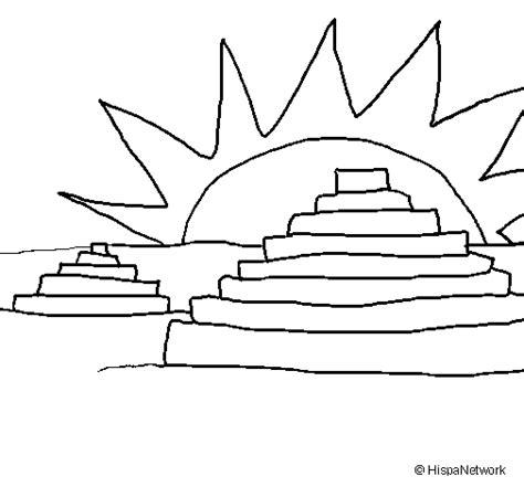 Imagenes Mayas Faciles | dibujo de templos mayas para colorear dibujos net