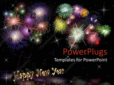 Powerpoint Template Lots Of Fire Works With Happy New New Year Powerpoint